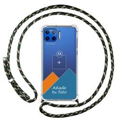 Personaliza tu Funda Colgante Transparente para Motorola Moto G 5G Plus con Cordon Verde / Dorado Dibujo Personalizada