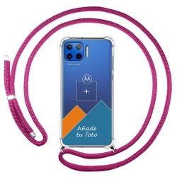 Personaliza tu Funda Colgante Transparente para Motorola Moto G 5G Plus con Cordon Rosa Fucsia Dibujo Personalizada