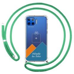 Personaliza tu Funda Colgante Transparente para Motorola Moto G 5G Plus con Cordon Verde Agua Dibujo Personalizada