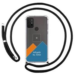 Personaliza tu Funda Colgante Transparente para Motorola Moto G10 / G30 con Cordon Negro Dibujo Personalizada