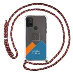 Personaliza tu Funda Colgante Transparente para Motorola Moto G10 / G30 con Cordon Rosa / Dorado Dibujo Personalizada