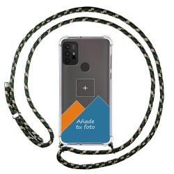 Personaliza tu Funda Colgante Transparente para Motorola Moto G10 / G30 con Cordon Verde / Dorado Dibujo Personalizada