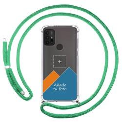 Personaliza tu Funda Colgante Transparente para Motorola Moto G10 / G30 con Cordon Verde Agua Dibujo Personalizada