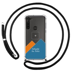 Personaliza tu Funda Colgante Transparente para Motorola Moto G8 Power con Cordon Negro Dibujo Personalizada