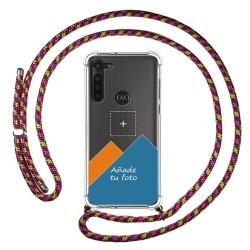 Personaliza tu Funda Colgante Transparente para Motorola Moto G8 Power con Cordon Rosa / Dorado Dibujo Personalizada