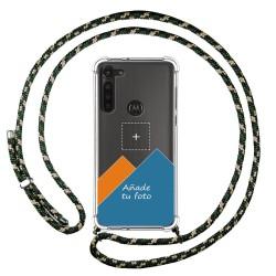 Personaliza tu Funda Colgante Transparente para Motorola Moto G8 Power con Cordon Verde / Dorado Dibujo Personalizada
