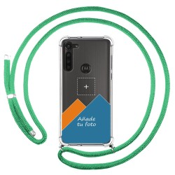 Personaliza tu Funda Colgante Transparente para Motorola Moto G8 Power con Cordon Verde Agua Dibujo Personalizada