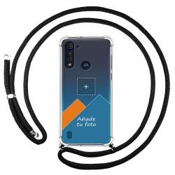 Personaliza tu Funda Colgante Transparente para Motorola Moto G8 Power Lite con Cordon Negro Dibujo Personalizada