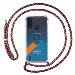 Personaliza tu Funda Colgante Transparente para Motorola Moto G8 Power Lite con Cordon Rosa / Dorado Dibujo Personalizada