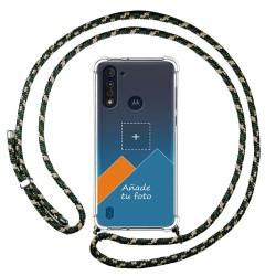 Personaliza tu Funda Colgante Transparente para Motorola Moto G8 Power Lite con Cordon Verde / Dorado Dibujo Personalizada