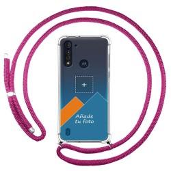 Personaliza tu Funda Colgante Transparente para Motorola Moto G8 Power Lite con Cordon Rosa Fucsia Dibujo Personalizada