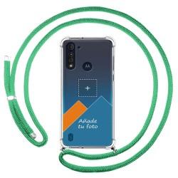 Personaliza tu Funda Colgante Transparente para Motorola Moto G8 Power Lite con Cordon Verde Agua Dibujo Personalizada