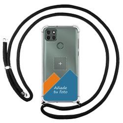 Personaliza tu Funda Colgante Transparente para Motorola Moto G9 Power con Cordon Negro Dibujo Personalizada