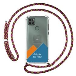 Personaliza tu Funda Colgante Transparente para Motorola Moto G9 Power con Cordon Rosa / Dorado Dibujo Personalizada
