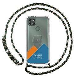 Personaliza tu Funda Colgante Transparente para Motorola Moto G9 Power con Cordon Verde / Dorado Dibujo Personalizada