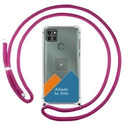 Personaliza tu Funda Colgante Transparente para Motorola Moto G9 Power con Cordon Rosa Fucsia Dibujo Personalizada