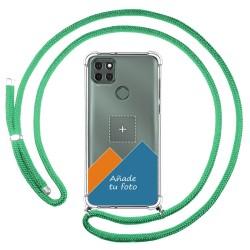 Personaliza tu Funda Colgante Transparente para Motorola Moto G9 Power con Cordon Verde Agua Dibujo Personalizada