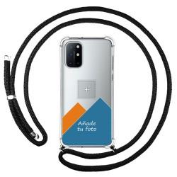 Personaliza tu Funda Colgante Transparente para OnePlus 8T 5G con Cordon Negro Dibujo Personalizada
