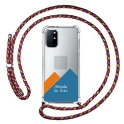 Personaliza tu Funda Colgante Transparente para OnePlus 8T 5G con Cordon Rosa / Dorado Dibujo Personalizada