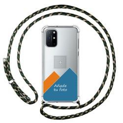 Personaliza tu Funda Colgante Transparente para OnePlus 8T 5G con Cordon Verde / Dorado Dibujo Personalizada