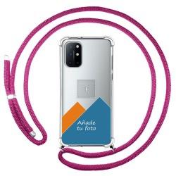 Personaliza tu Funda Colgante Transparente para OnePlus 8T 5G con Cordon Rosa Fucsia Dibujo Personalizada