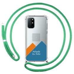 Personaliza tu Funda Colgante Transparente para OnePlus 8T 5G con Cordon Verde Agua Dibujo Personalizada