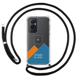 Personaliza tu Funda Colgante Transparente para OnePlus 9 Pro 5G con Cordon Negro Dibujo Personalizada