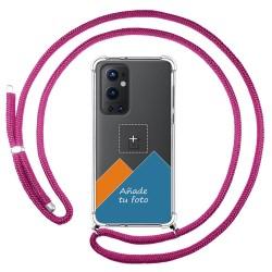 Personaliza tu Funda Colgante Transparente para OnePlus 9 Pro 5G con Cordon Rosa Fucsia Dibujo Personalizada