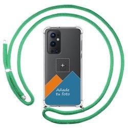 Personaliza tu Funda Colgante Transparente para OnePlus 9 Pro 5G con Cordon Verde Agua Dibujo Personalizada