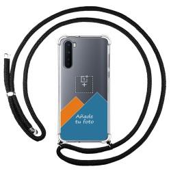 Personaliza tu Funda Colgante Transparente para OnePlus Nord con Cordon Negro Dibujo Personalizada