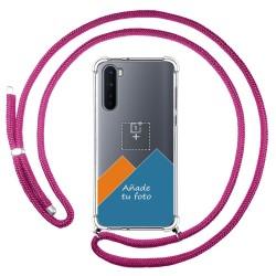 Personaliza tu Funda Colgante Transparente para OnePlus Nord con Cordon Rosa Fucsia Dibujo Personalizada