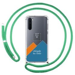 Personaliza tu Funda Colgante Transparente para OnePlus Nord con Cordon Verde Agua Dibujo Personalizada