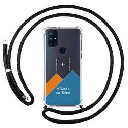 Personaliza tu Funda Colgante Transparente para OnePlus Nord N10 5G con Cordon Negro Dibujo Personalizada