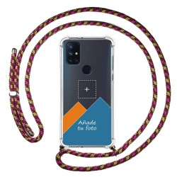 Personaliza tu Funda Colgante Transparente para OnePlus Nord N10 5G con Cordon Rosa / Dorado Dibujo Personalizada