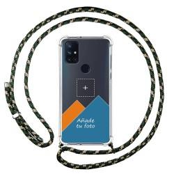 Personaliza tu Funda Colgante Transparente para OnePlus Nord N10 5G con Cordon Verde / Dorado Dibujo Personalizada