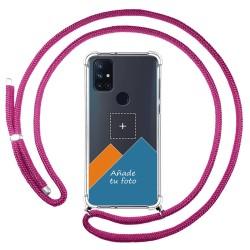 Personaliza tu Funda Colgante Transparente para OnePlus Nord N10 5G con Cordon Rosa Fucsia Dibujo Personalizada