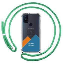 Personaliza tu Funda Colgante Transparente para OnePlus Nord N10 5G con Cordon Verde Agua Dibujo Personalizada