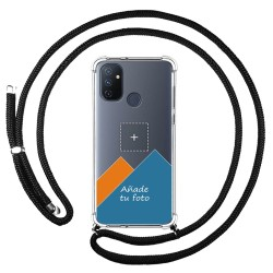 Personaliza tu Funda Colgante Transparente para OnePlus Nord N100 con Cordon Negro Dibujo Personalizada