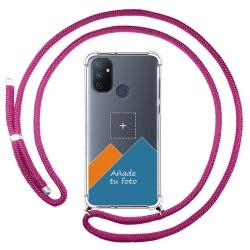 Personaliza tu Funda Colgante Transparente para OnePlus Nord N100 con Cordon Rosa Fucsia Dibujo Personalizada