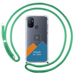 Personaliza tu Funda Colgante Transparente para OnePlus Nord N100 con Cordon Verde Agua Dibujo Personalizada