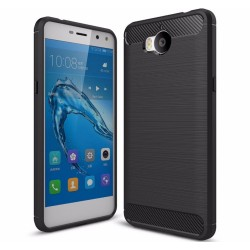 Funda Gel Tpu Tipo Carbon Negra para Huawei Y6 2017