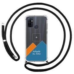 Personaliza tu Funda Colgante Transparente para Oppo A53 / A53s con Cordon Negro Dibujo Personalizada