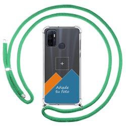 Personaliza tu Funda Colgante Transparente para Oppo A53 / A53s con Cordon Verde Agua Dibujo Personalizada