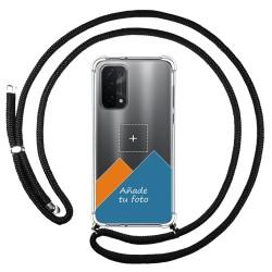 Personaliza tu Funda Colgante Transparente para Oppo A54 5G / A74 5G con Cordon Negro Dibujo Personalizada