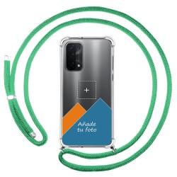 Personaliza tu Funda Colgante Transparente para Oppo A54 5G / A74 5G con Cordon Verde Agua Dibujo Personalizada