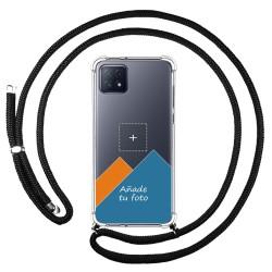 Personaliza tu Funda Colgante Transparente para Oppo A73 5G con Cordon Negro Dibujo Personalizada