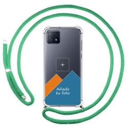 Personaliza tu Funda Colgante Transparente para Oppo A73 5G con Cordon Verde Agua Dibujo Personalizada