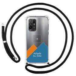 Personaliza tu Funda Colgante Transparente para Oppo A94 5G con Cordon Negro Dibujo Personalizada