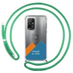 Personaliza tu Funda Colgante Transparente para Oppo A94 5G con Cordon Verde Agua Dibujo Personalizada