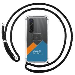 Personaliza tu Funda Colgante Transparente para Oppo Find X2 Pro con Cordon Negro Dibujo Personalizada